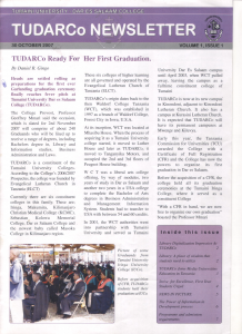 TUDARCo Newsletter Volume 1 Issue 1 30 October 2007
